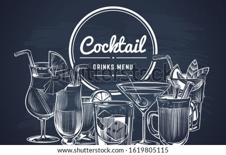 Sketch cocktail background. Hand drawn alcohol cocktails drinks bar menu, cold drinking restaurant beverages set. lemon drawing long drink engrave coctalis design