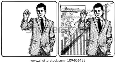 Sketch, comics style male writing something on glass board with marker