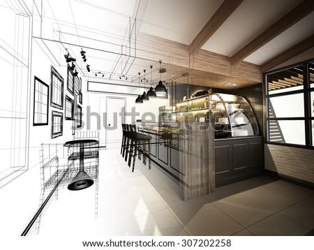 sketch design of coffee shop ,3d wire frame render