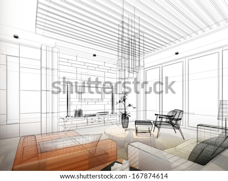 Shutterstock sketch design of living ,3dwire frame render