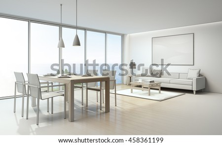sketch design of sea view living room and dining room in luxury
