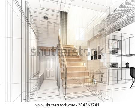 sketch design of stair hall ,3dwire frame render