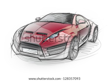 Sport Cars on Sketch Drawing Of A Sports Car  Non Branded Concept Car  Stock Photo