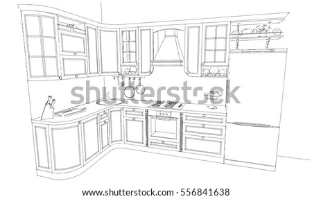 Sketch Drawing Of Classic Kitchen Interior 3d Monochrome Ez Canvas