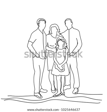 sketch family on white background