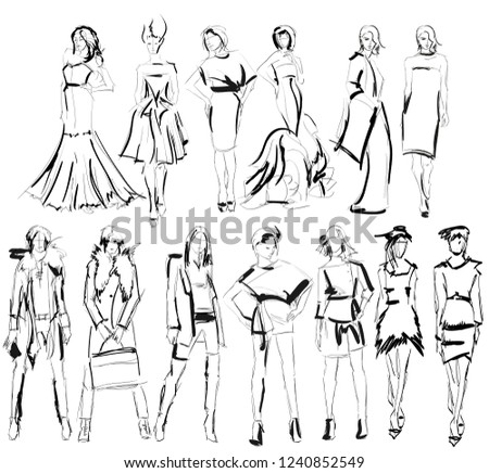 royalty free black and white 1700 1800 fashion 154179596 stock 3000 S Fashion sketch fashion girls on a white background 1240852549