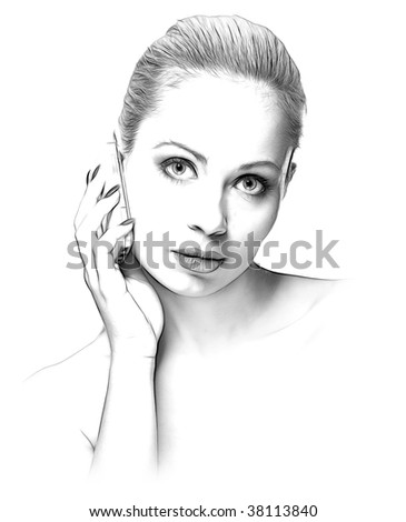 sketch hand-drawing effect portrait of beauty woman with mobile phone on white background