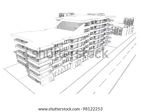 Sketch idea, drawing of residential building, more renders in portfolio