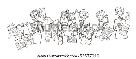 Sketch illustration of people