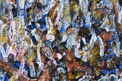 Sketch in the style of abstract expressionism. Abstract background in gold, blue and white colors. Peeling relief paint.