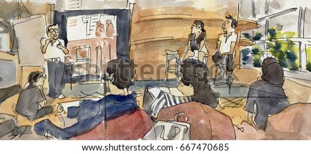 Sketch lecture classroom watercolor painting