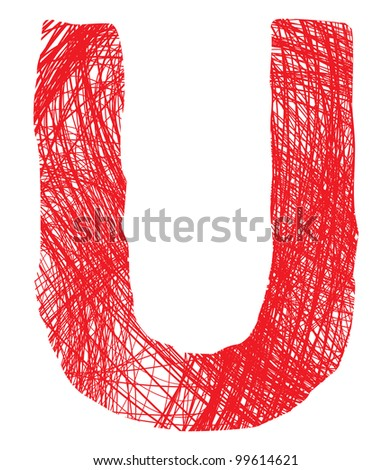 sketch letter U isolated on white background