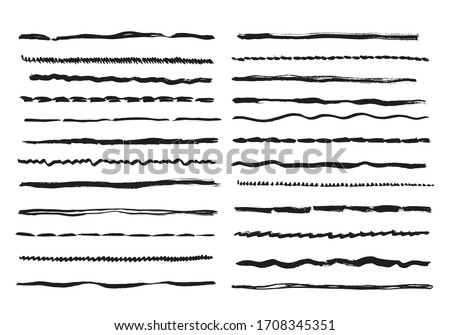 Sketch lines. Pencil textured doodle freehand line strokes chalk scribble black ink line isolated set