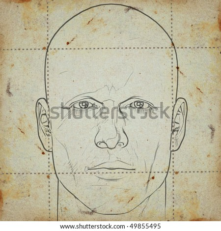 Sketch of a man's head on stained paper background. Digitally created illustration. - stock photo