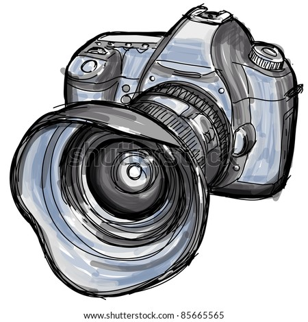 Sketch of a modern digital photo camera. Bitmap copy my vector ID 68682208