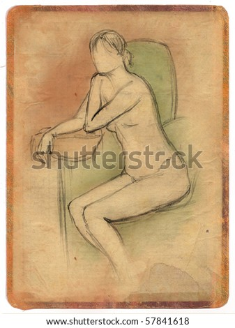 stock photo : sketch of a nude young girl sitting on a vintage old paper ...