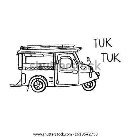 Sketch of a omnibus around Trang province in Thailand,  Also known as the Tuk Tuk frog head.