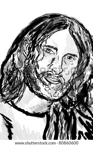 Sketch of a portrait of Jesus Christ. - stock photo
