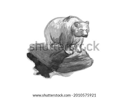 Sketch of a sculpture of a bear.Muscular grizzly bear.Pencil  sketch of a bear.A grizzly bear stands on a hill.Strong grizzly.Drawing of a grizzly.Animal sketch.  Stock fotó ©