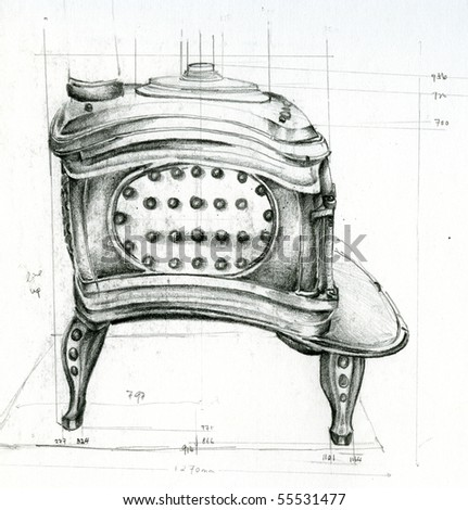 Sketch of a Stove in a Historical School House