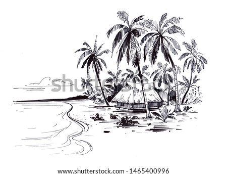 Sketch of a tropical beach with palm trees and the sea. Hand drawn illistration converted to vector