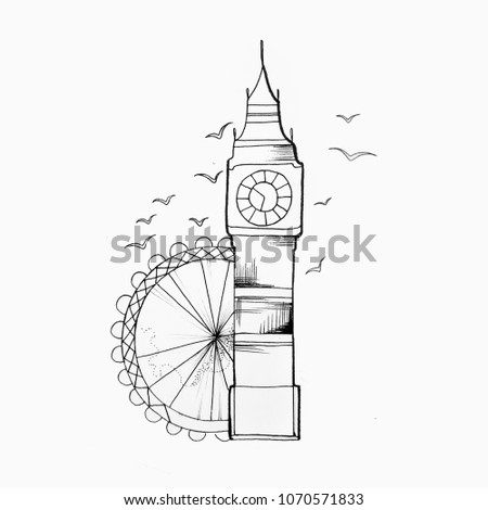 Sketch of Big ben on a white background.