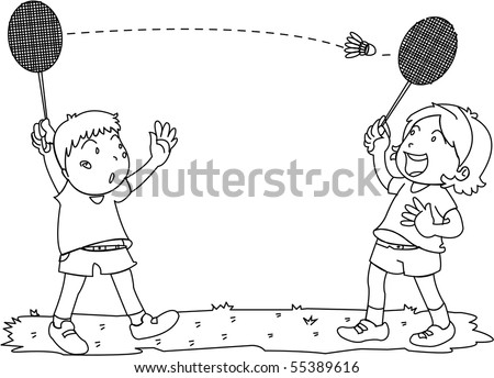 Sketch of Boy and Girl Playing Badminton on white background