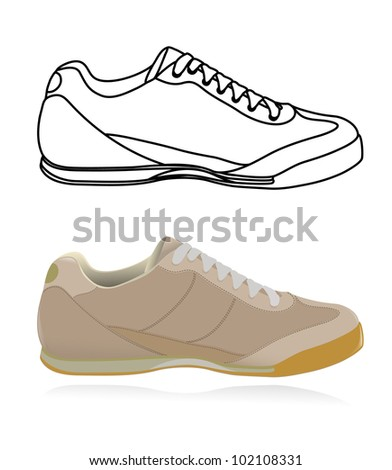 Sketch of casual shoe, sneakers