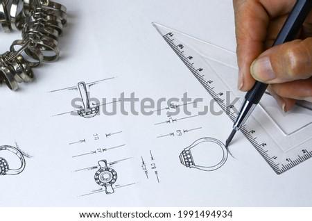 Sketch of diamond jewelry ring