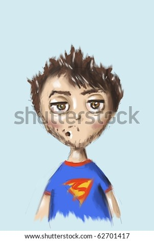 sketch  of funny boy - stock photo