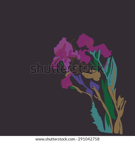 Sketch of irises, stripes, spots,branches, flowers, copy space. Hand drawn. Sketch from life.