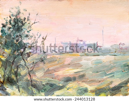 Sketch of landscape painting brush and oil