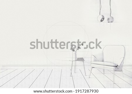 Sketch of living room. Freehand drawing. Photo stock ©