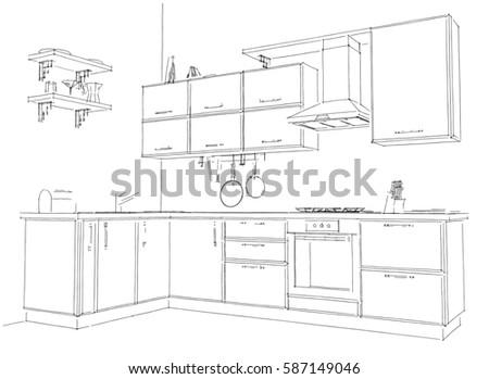 Sketch of modern corner kitchen. 3d illustration. Black lines on white background.