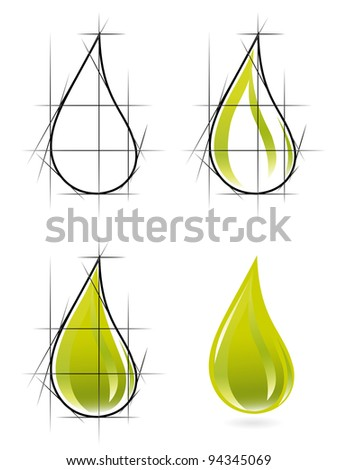 Sketch of olive oil drop