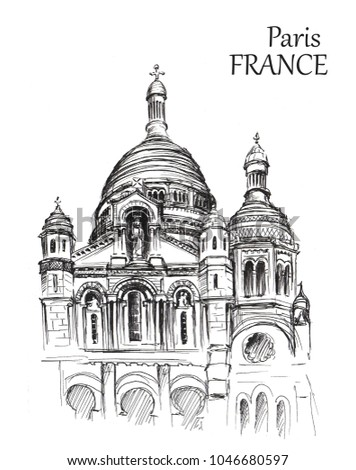 Sketch of Paris arcitecture on white background. Hand drawn urban illustration of cathedral. Travel sketching #1046680597