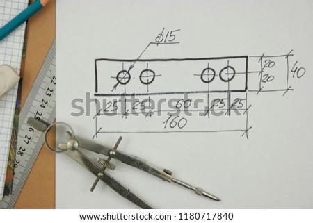 Sketch of rectangular detail, designing #1180717840