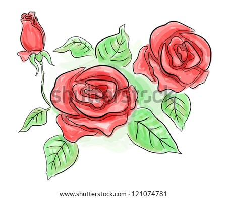 Sketch of red roses in transparent red colors.