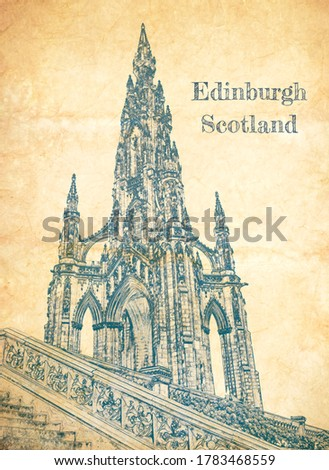 Sketch of Scott Monument in Edinburgh on old paper ストックフォト ©