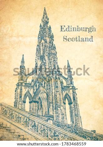 Sketch of Scott Monument in Edinburgh on old paper ストックフォト ©