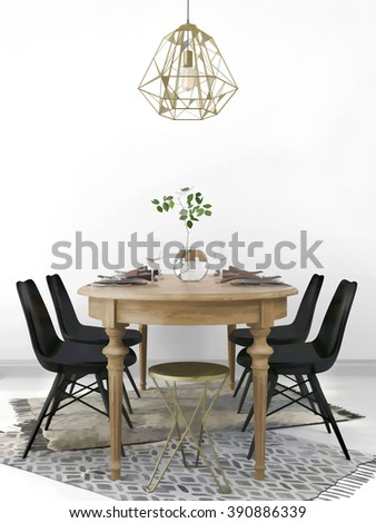 Sketch of served vintage wooden dining table, combined with the modern black chairs and a brass chandelier