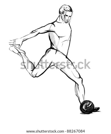 Sketch of Soccer Player kicking the ball