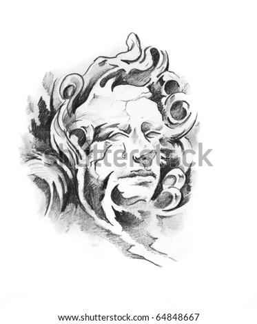 Sketch of tattoo art, angel - stock photo