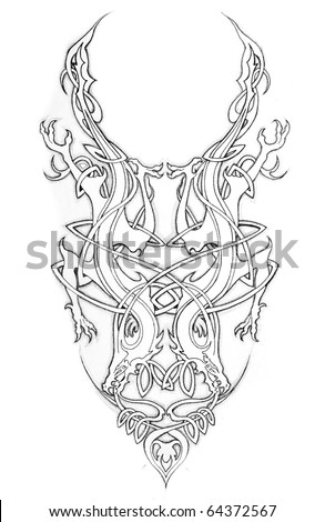 Sketch of tattoo art, celtic