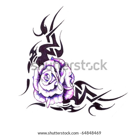 Sketch of tattoo art flower with tribal design stock photo