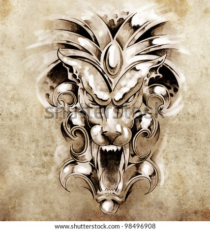 Sketch of tattoo art, gargoyle devil mask