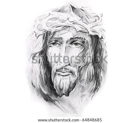 Sketch of tattoo art, Jesus Christ