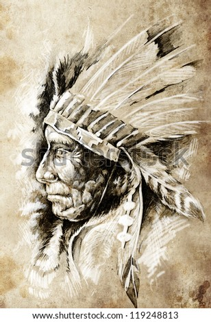 Sketch of tattoo art, native american indian head, chief, vintage style - stock photo