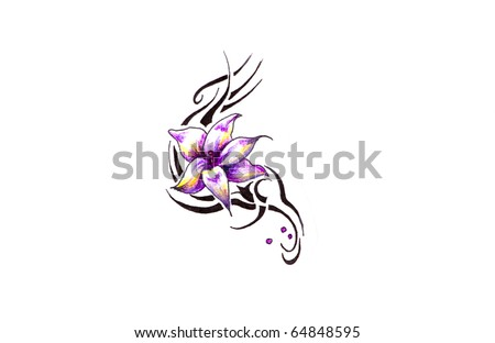 stock photo Sketch of tattoo art rose and tribal forms