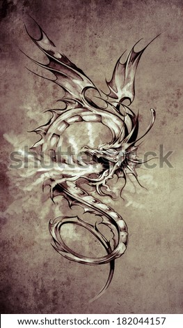 Sketch of tattoo art stylish dragon illustration on vintage paper handmade illustration